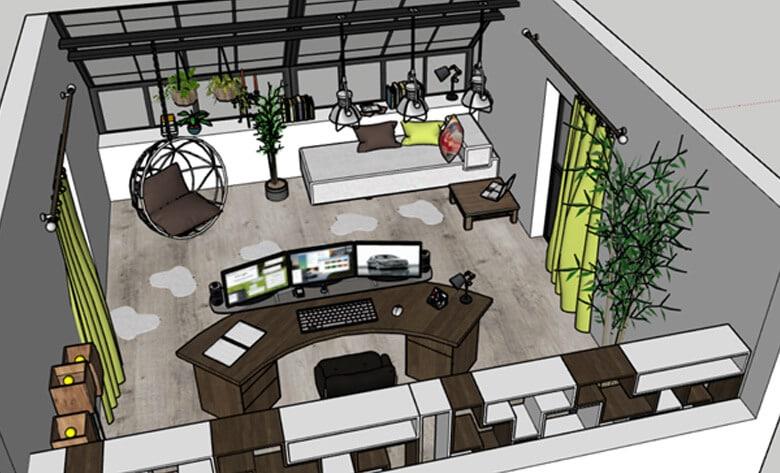 3D Warehouse, Bureau Complet by ShazZaam Eolia