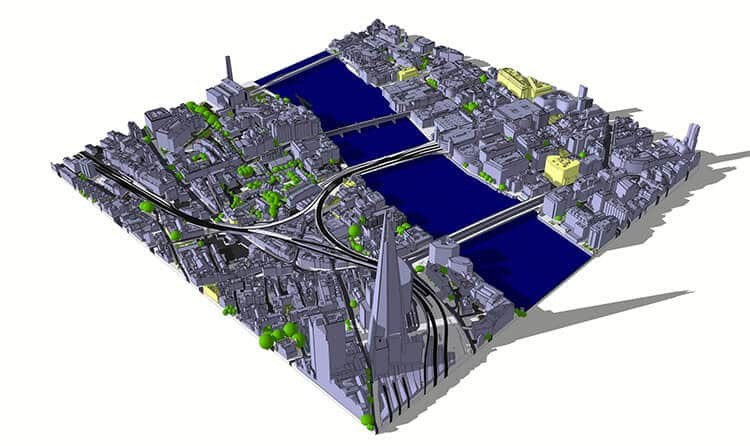London Tiles: 3D Model of London structured in 0.25 km2