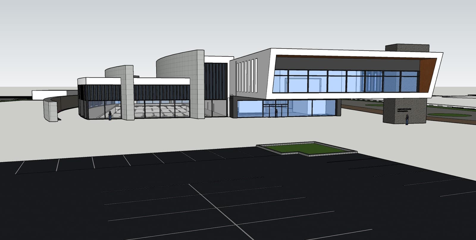 Swimming Pool Centre, Initial concept in SketchUp. University Project.